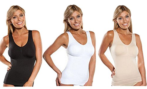 MISS MOLY Shape Top|Damen Leicht Figurformende Bodyforming Shaping Top Unterhemd Seamless Shapewear Schwarz/Weiß/Beige Schwarz