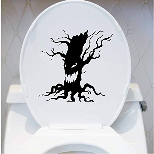 HHZDH Spooky Baum Vinyl Wandaufkleber Halloween Scary Baum Gesicht Wc Aufkleber Home Decor 18 x 17 cm