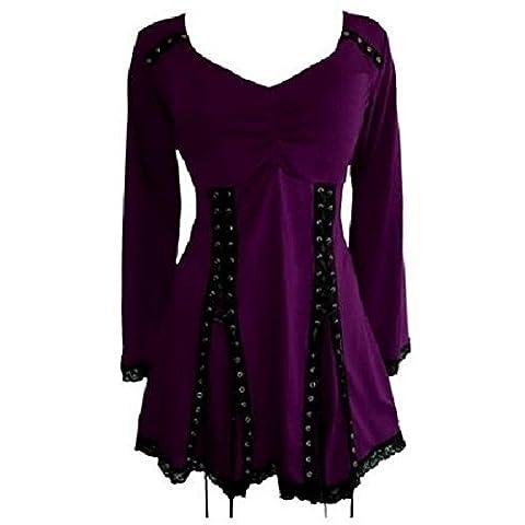 Ufirstever Damen Tunika Gothic Stretch Top Longshirt Oberteil Bluse Shirt Minikleid (36/38(L), Lila)
