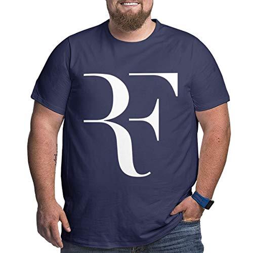 Eivan Herren T-Shirt Roger Federer Large Size Rundhalsausschnitt Baumwolle Kurzarm Shirt Gr. XXL, Navy