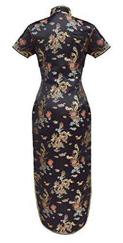 Chinesisches kleid qipao abendkleid lange ärmelkurz von Größe 38 bis 50 Schwarz