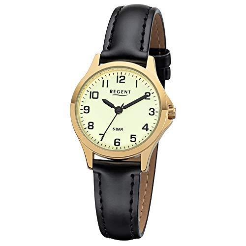 REGENT Damen-Armbanduhr analog Quarz Lederband W-0072