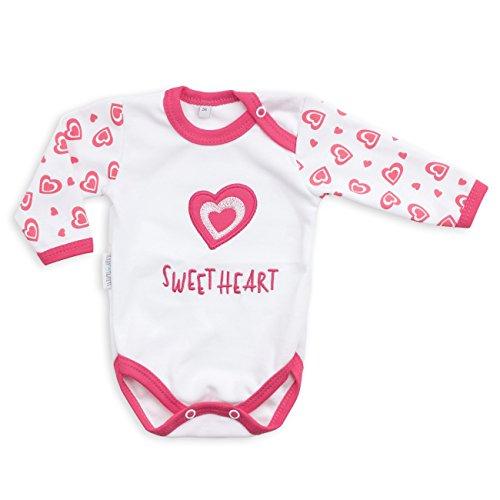Baby Sweets Baby Langarmbody Mädchen weiß pink | Motiv: Sweet Heart | Marke Babybody mit Herzmotiv für Neugeborene & Kleinkinder | Größe: 68 (3-6 Monate) ... -
