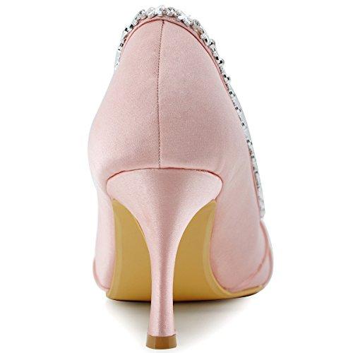 ElegantPark EP2094 Donna Peep Toe Pieghe Strass Tacco Alto Raso Scarpe Da Sera Scarpe Da Ballo Rosa