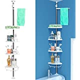 HOMFA Telescopic Shower Shelf Corner Shelf Height Adjustable from 97 - 310 cm Rust-Proof Made of High-Quality Steel and ABS with 4 Shelves