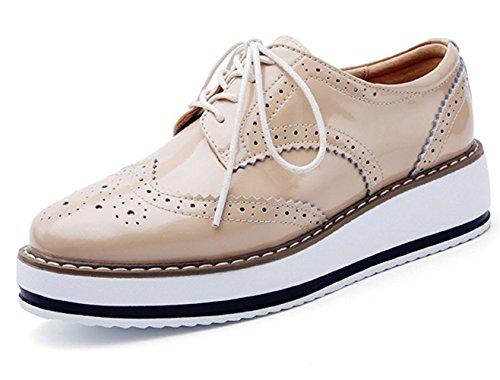 DADAWEN Brogues Femmes/Chaussures de Ville à Lacets Derbies Baskets Cuir Plateform