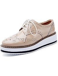 DADAWEN Brogues Femmes  Chaussures de Ville à Lacets Derbies Baskets Cuir  Plateforme c2d54bb125d