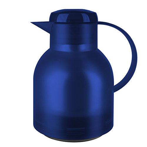 Emsa 504231 Isolierkanne, 1 Liter, Quick Press Verschluss, 100% dicht, Transluzent Blau, Samba