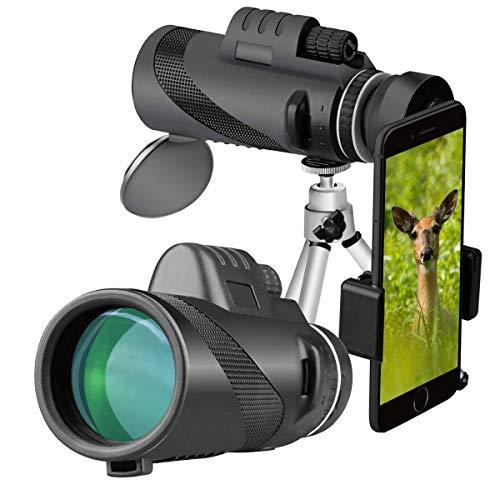 ZDYLL 40X60 High Power Prisma Monocular Teleskop und Quick Smartphone Holder - Wasserdichtes nebelsicheres Shockproof Scope -BAK4 Prism FMC (Schwarz)