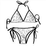 Fashion Sexy Women's Paints Pen Straightedge Scissors Pattern Printing Bikini Set Adjustable Bathing Suits