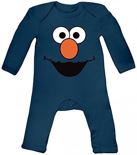 Nerd Kostüm Strampler Baby - ShirtStreet Karneval Fasching Verkleidung Baby Strampler Langarm Schlafanzug Jungen Mädchen Red Monster, Größe: 12-18 Monate,Nautical Navy