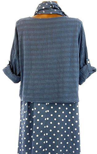 Charleselie94 - Tunika-kleid + schal asymmetrisch baumwolle boheme sommer jeans BLAU BAUMWOLLGEWEBE blau Blau