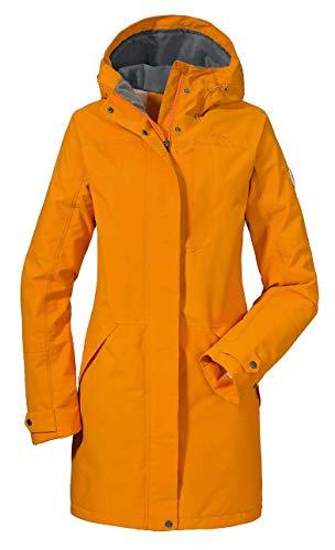 Schöffel Malmö Damen Parka, leichte Damen Jacke für Frühjahr und Sommer, wasserdichte Sommerjacke für Frauen mit praktischen Taschen , dark cheddar , 42 -