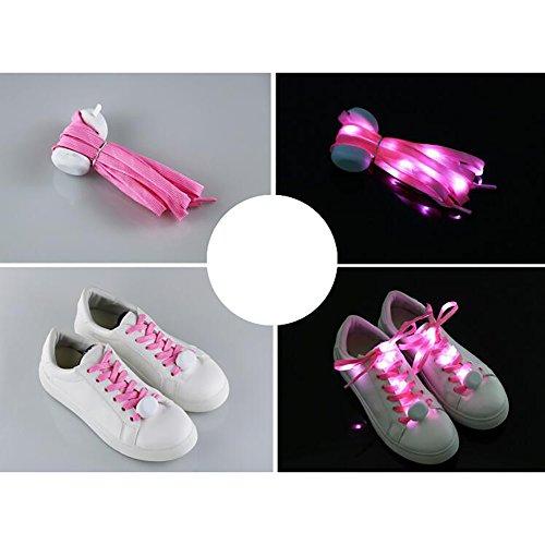 Cuitan led lacci per scarpe per corsa notturna, 10 led lampeggiante light up lacci scarpe stringhe shoe laces con 3 modi luminosi per festa di natale, halloween, attività hip-hop danza - rosa