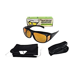 DELONNAY Nachtsichtbrille zum Autofahren. Gelbe Anti-Glanz Nachtfahrbrille mit Aufbewahrungstasche und Aufhänge-Clip. Für Brillenträger geeignet.