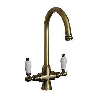 ENKI Kitchen Sink Mixer Tap Lever Dual Flow Antique Bronze DORCHESTER