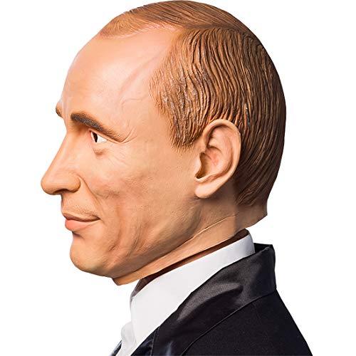 Berühmtheiten Kostüm - Amakando Männer-Maske Putin / Hautfarben / Auffälliges Kostüm-Accessoire Russland / Einsetzbar zu Fasching & Fasnet