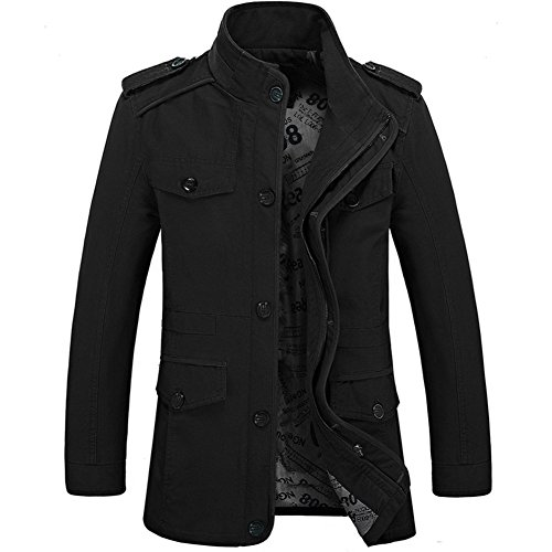 Zicac New Mens Spring Autumn Military Slim Fit Long Sleeve Cotton Casual Lightweight Warm Zipped Jacket Parka Trench Coats Blazer Outerwear with Multi Pockets - Black - UK L(Asia Tag XXXL)