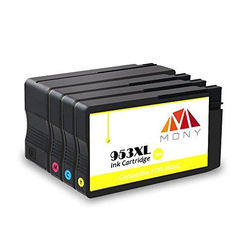 Mony Remanufacturado Cartuchos de tinta HP 953 XL 953XL (1 Negro, 1 Cian, 1 Magenta, 1 Amarillo) compatible con HP OfficeJet Pro 6950 6960 6970 All in One Impresoras