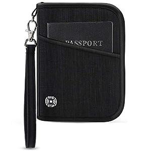 41UY99L5nxL. SS300  - Vemingo Cartera de Viaje Cartera Pasaporte Parta Pasaporte Familiar con RFID Organizador de Documentos 5 Pasaportes…