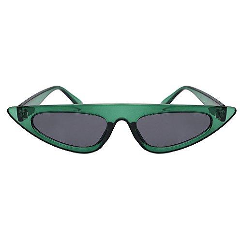 Damen Mode Cateye Sonnenbrillen Retro Kleiner Plastik Rahmen UV400 Brillen (#1 Grün)