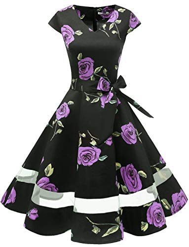 Gardenwed 1950er Vintage Retro Cocktailkleid Cap Sleeves Rockabilly Kleider Damen Schwingen Petticoat Faltenrock Purple Rose M