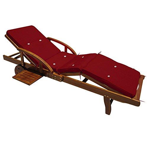 Coussin pour transat chaise longue de jardin ROUGE 195 cm - Rembourré Matelas