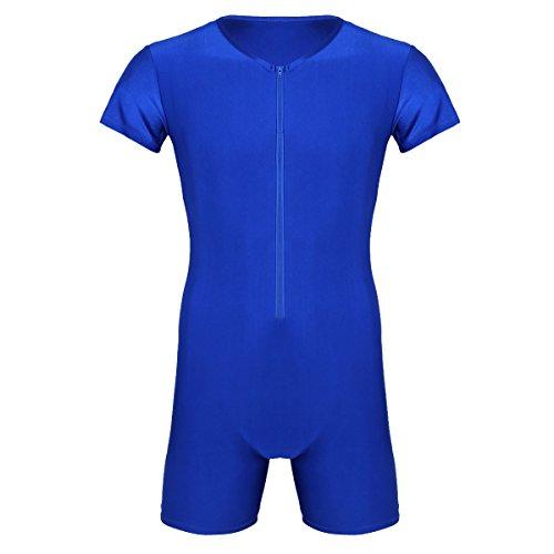Agoky Herren Body Bodysuit Einteiler Kurz mit Reissverschluss Overall Slim Fit Männerbody Kurzarm Unterhemd Boxershorts Unterwäsche M-XXL Blau XXL(Brust 98cm)