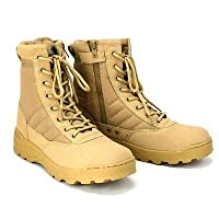 HAIYUGUAGAO Men Tactical Ankle Boots Waterproof Work Safety Shoes Climbing Sport Shoes (Color : Sandy, Size : 9)