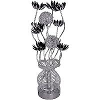 MiniSun – Lampada da tavolo moderna ed elegante di aluminio con una finitura di colore d'argento e nero – nello stile designer di fiori nel vaso