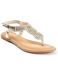 Ideal Shoes - Sandales plates en similicuir incrustées de strass Laenicia
