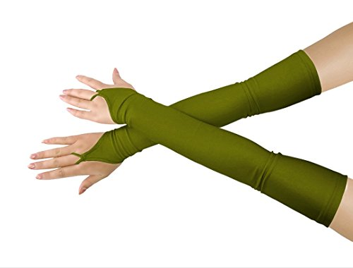 chsene Halloween Make-Up Fingerlose Über Elbow Cosplay Kostüm Handschuhe (army green) (Mädchen Army Kostüme)