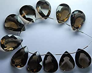 3 Pieces AAA Quality,Smoky Quartz  Cut Stone Pear Shaped Briolettes 18x25mm Large size,