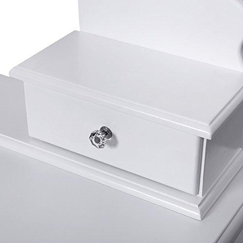 Songmics Schminktisch mit 5 Schubladen ink. 2 Stück Unterteiler, Kippsicherung, Hocker u. Spiegel weiß RDT09W - 3