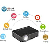 Uvistar-UC46 1200 Lúmenes, HD 1080P LED WIFI MINI Proyector de Entretenimiento Multimedia de Video Digital Cine en Casa para Oficina Hogar Cine - Enchufe Euro (Negro)