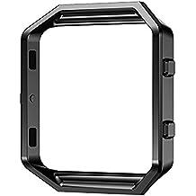 Protector/Accesorio Frame para Fitbit Blaze Relojes Inteligente - Aohro Metal de Acero inoxidable Titular Marco Shell para Fitbit Blaze Smart Watch - Negro