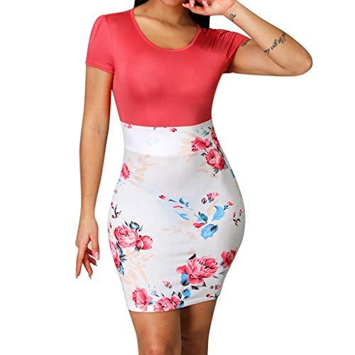 Mounter-Tops Damen Sexy figurbetontes Kleid, V-Ausschnitt, Vintage-Blumenmuster, Kurze Ärmel, Slim Fit, Clubwear, Urlaub, Abendparty, formelles kurzes, formelles Minikleid Gr. Medium, ()