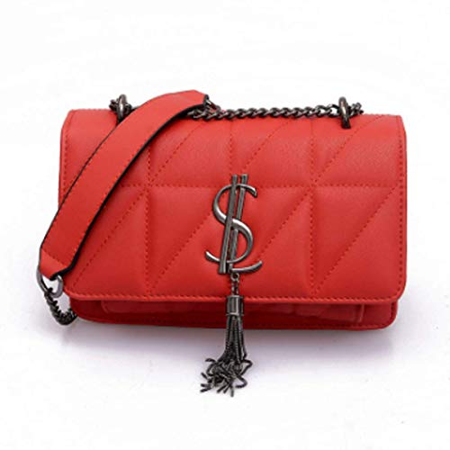 Womens Shoulder Pocket Necklace Quilted Purse PU Leather Women Care (rot, 22.5 * 8 * 15cm)