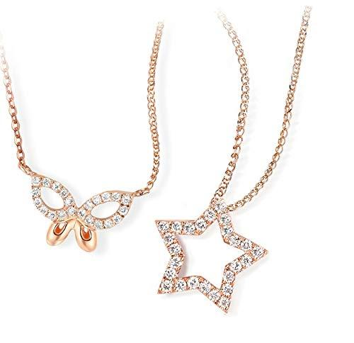 SonMo 18K (750) Damen Halskette Frauen Halskette Star Silberkette mit Anhänger 0.05Kt Diamant Geschenk für Frauen Rose Gold