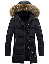 BOZEVON Giacche Cappotto Invernale da Uomo - Giacca Imbottita in Cotone con  Cappuccio Collare in Pelliccia ccb4e0671d5