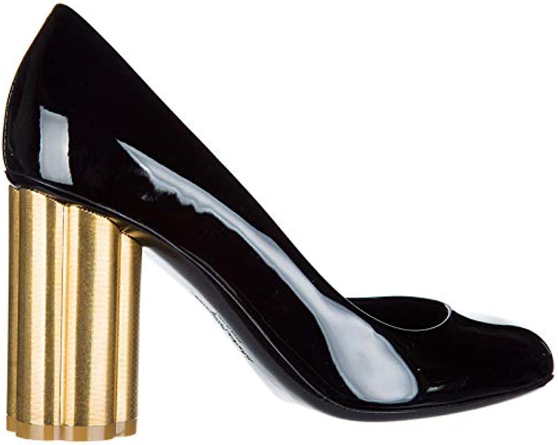 Salvatore Ferragamo Lucca Escarpins Chaussures Femme à Talon en Cuir Lucca  Ferragamo NoirB07C8FNQ43Parent fe1f97 25fc15222dce