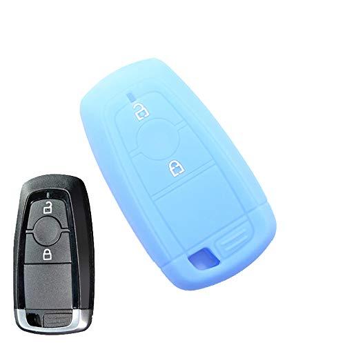 EcoiNVA Autoschlüssel Hülle für Ford Mondeo Ecosport Silikon Auto-Fernbedienungen blau