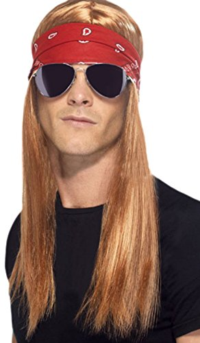 Halloweenia - Herren Perücke Kid Hard Rock Bandana und Sonnenbrille, - Kid Rock Star Kostüm