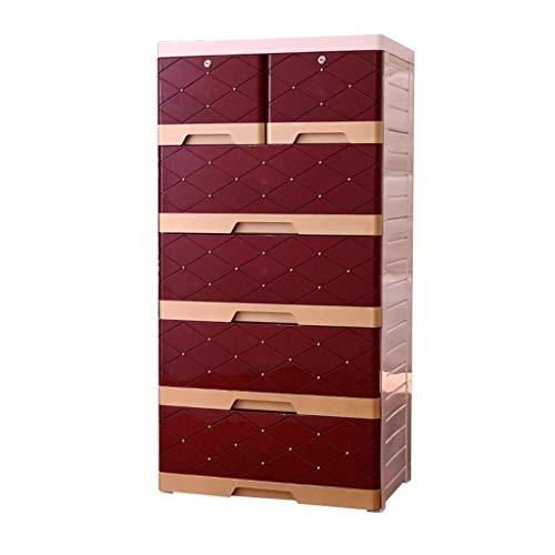 Wyyggnb Lagerturm Kunststoff Kleiderschrank, Gitter Aufbewahrungsbox, großes Wohnzimmer europäischen Stil fünf Etagen Spind Schublade Typ Baby Kleiderschrank (Color : A, Size : 58 * 40 * 113CM) -