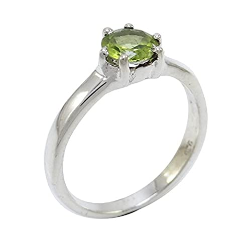 Banithani Excellent Peridot Stone Ring 925 Pure Silver Indian Jewellery Gift For Her