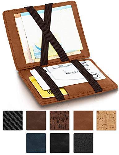 GenTo® Magic Wallet Vegas - TÜV geprüfter RFID, NFC Schutz - Dünne Geldbörse mit Münzfach - Geschenk für Damen und Herren mit Geschenkbox - erhältlich in 8 Farben | Design Germany (Hellbraun Soft)