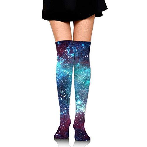 QUEEKINWANG Women's Galaxy Space Purple Nebula Long Stockings 3D Pattern Casual Knee High Socks