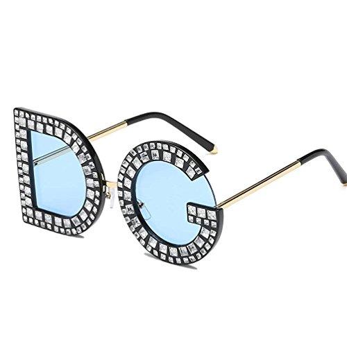 Unisex Vintage Sonnenbrille Personality Letter Sonnenbrille DG Diamond Sonnenbrille Schutz Eyeglass Geeignet Fahren Strandmode Reisen,Blue