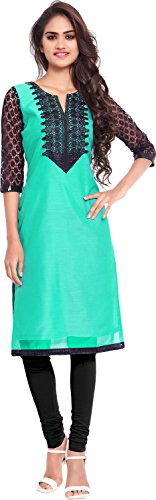 Twinkal Women's Chanderi Silk Straight Kurta / Kurti (TWKR0257_XXL, Light Gre...  available at amazon for Rs.690