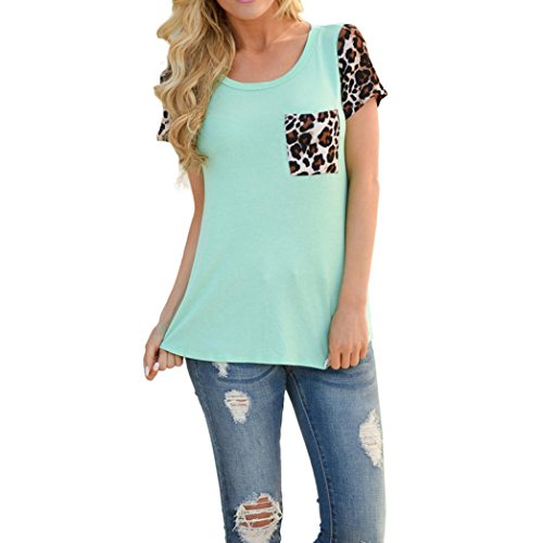 Bluestercool T-shirt Femme Leopard Splice Printing Pocket Blouse à col rond Vert